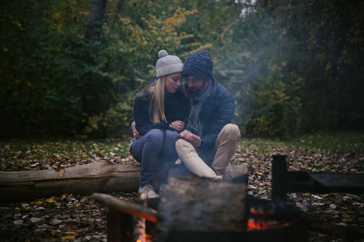 Camp fire engagement session