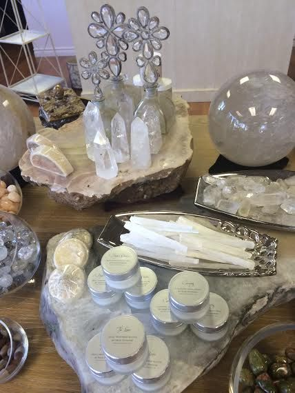 Sage Goddess' luxurious bath and body product display in the new showroom. We hope it inspires you to find new and creative ways to display your treasures at home!