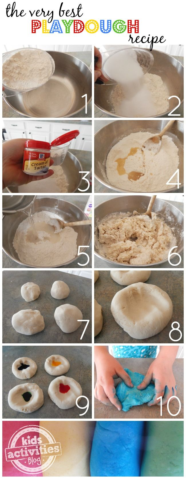 The very best play dough recipe. This will last forever, too!