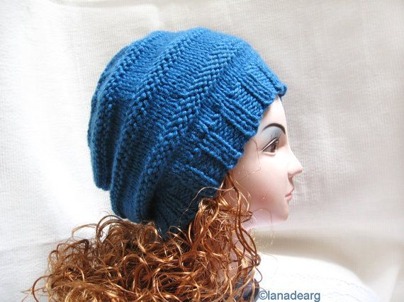 Beanie Knitting Pattern Straight Needles : Knitting Patterns for Hats- Hat Beret Slouchy Pattern PDF N11 Knit patterns...