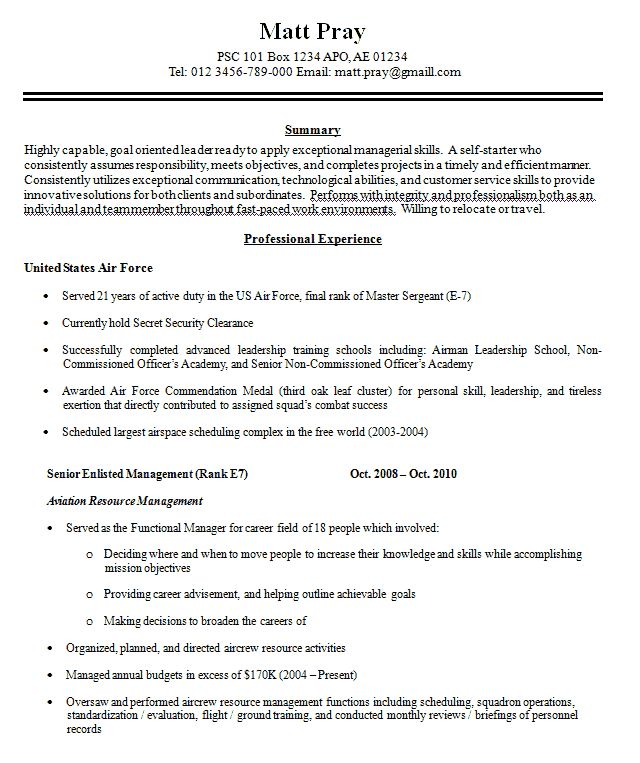 Resume Examples Military To Civilian kantosanpo