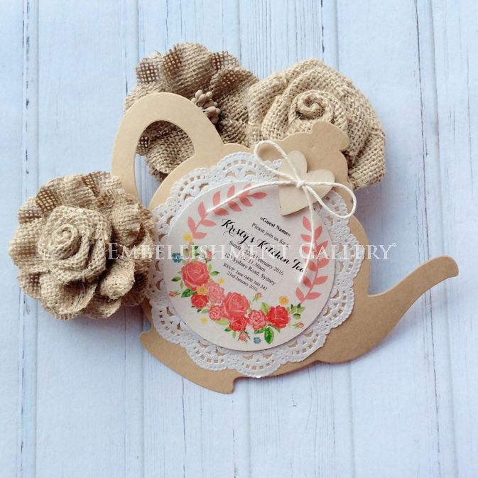 Burlap Flower and Teapot Card by Embellishment Gallery® AUSTRALIA
