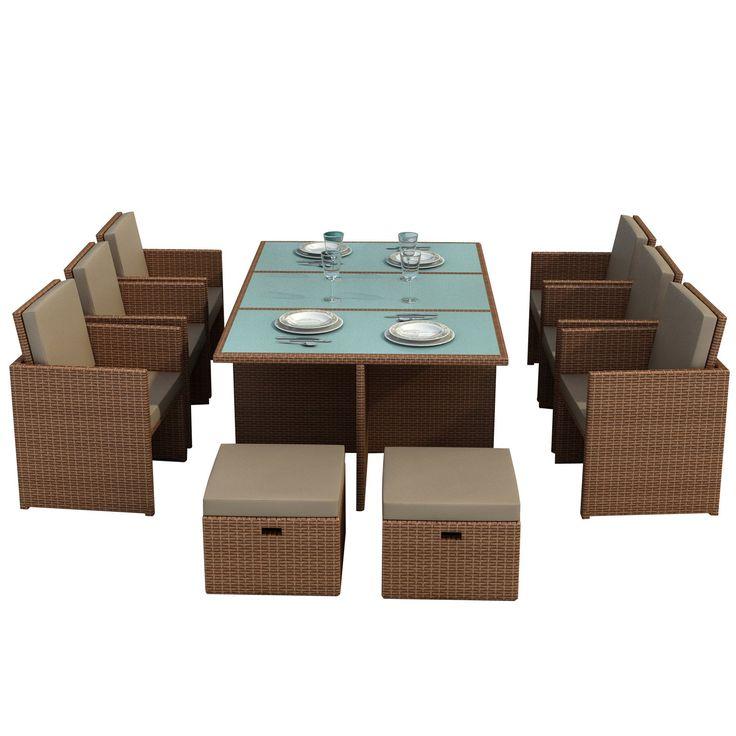 """Jet-Line - Mobili da giardino """"Bali"""", tavolo con 6 sedie e 4 sgabelli, incl. vetro e cuscini"""