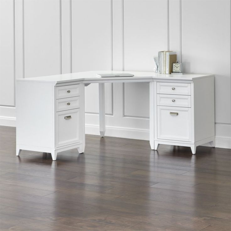 Harrison 3 Piece White Corner Desk Filing Suite