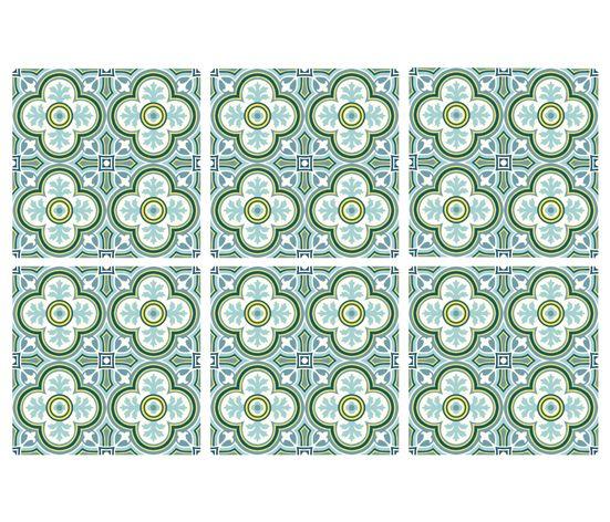 KAKELDEKOR Marockansk 1, grön/blå