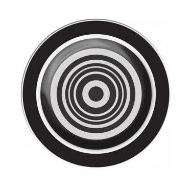 "Stylishly hypnotic, these black and white side plates are perfect for serving salads, dessert or as kids plates. Measures 8"" in diameter.  Made of 100% melamine, this kid-friendly tableware is dishwasher safe, high-heat resistant and shatter resistant. Not for microwave use."