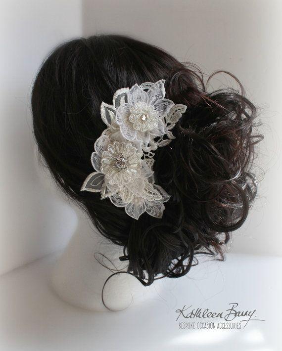 R750 Elserie floral lace hairpiece #weddinghair #bidalhairpiece #floralbride by KathleenBarryJewelry