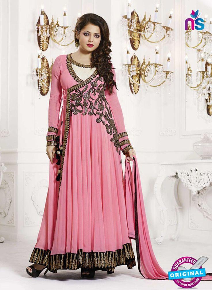 NS11006 Pink and Black Designer Georgette Anarkali Suit