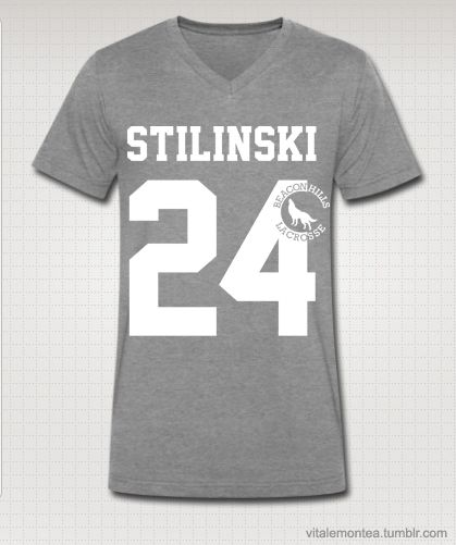 """STILINKSI 24"" Teen Wolf MTV - Stiles Stilinski Lacrosse Jersey T-shirt $28 // (http://www.redbubble.com/people/kinxx/works/9366088-teen-wolf-stilinksi-24-lacrosse?c=159529-teen-wolf )"