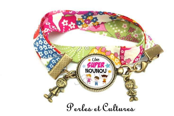 Bracelets, Bracelet libertyღ Cadeau pour la Nounou! cabochon est une création orginale de PerlesetCultures sur DaWanda