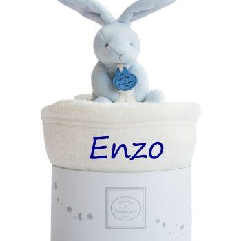 Couverture bébé avec doudou - Lapin bleu poupepoupi.com