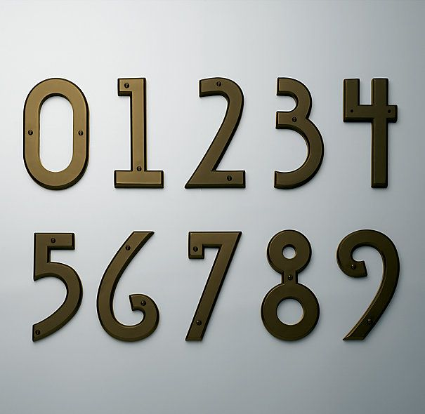 MISSION HOUSE NUMBERS  $10New House, Restoration Hardware, Home Exterior, Graphics Design, Front Doors, Address Numbers, Art Deco House, Curb Appeal, House Numbers