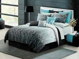 Black,  gray,  and aqua bedroom