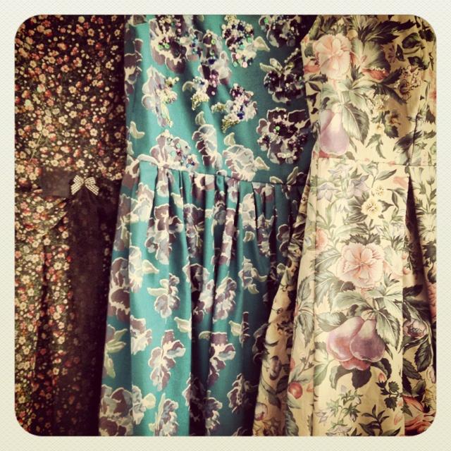 Vintage floral dresses beaded