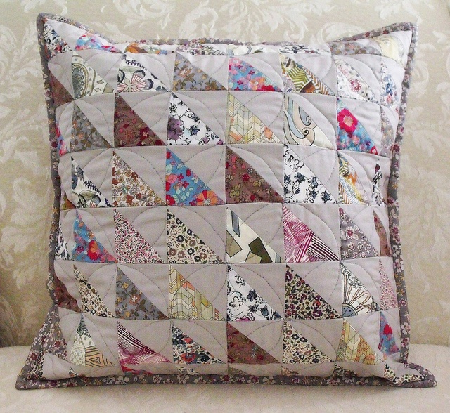Patchwork Liberty cushion - I like the Liberty prints against the natural linen!