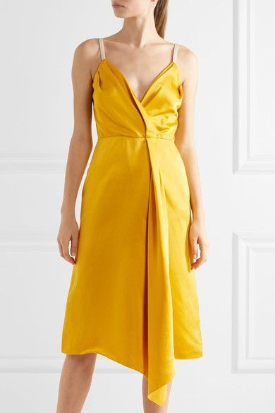 Yellow and white silk-blend satin Concealed zip fastening along back 52% silk, 48% viscose Dry clean Made in the UK