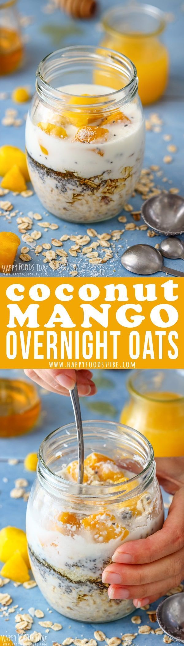 Coconut Mango Overnight oats is the perfect breakfast for people on the go, busy families or anyone who loves fuss-free breakfast. Fill a jar, place it in the fridge and enjoy the following morning. #coconut #mango #overnightoats #healthy #breakfast #oats #recipe #vegetarian #slimmingworld #jar via @happyfoodstube