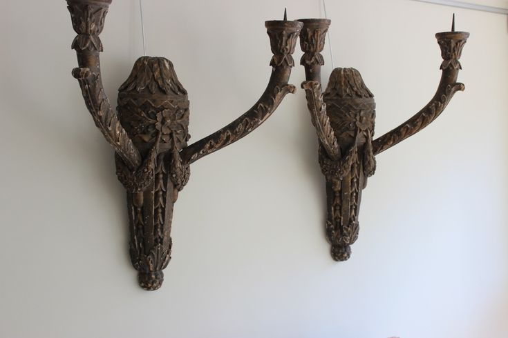 A Pair of French Carved Giltwood Wall-Lights, 18th Century