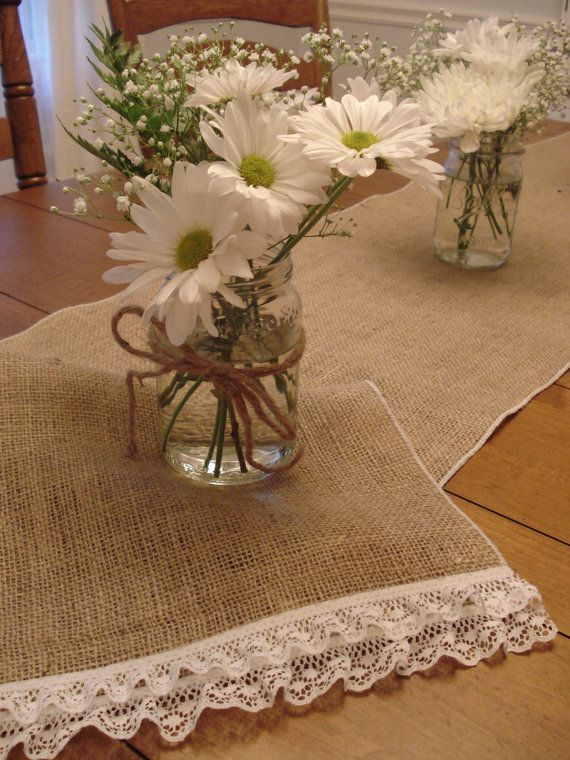 SALE Burlap Table Runner with Lace Ruffles 13 x