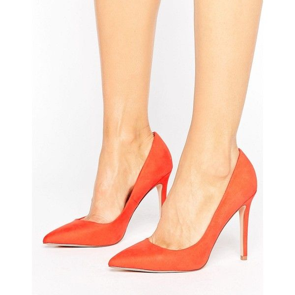 Faith Chloe Pointed Court Shoes ($52) ❤ liked on Polyvore featuring shoes, pumps, orange, pointy-toe pumps, pointy toe shoes, orange high heel shoes, high heel shoes and pointed toe pumps