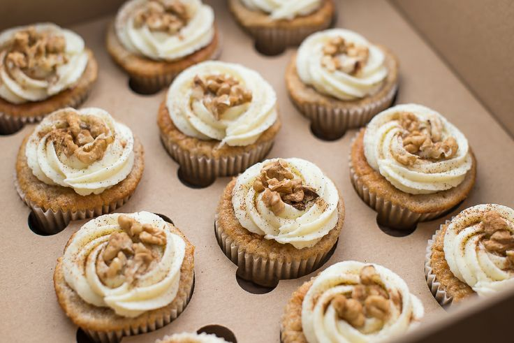 Apple wallnut cupcakes - superior ones! made with heart by Giraffebakery