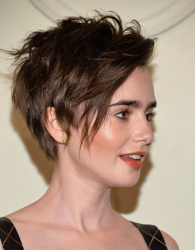 Lily Collins chopped ~ still lovely - *that face* - but not as much. #IfInDoubtStayStrongStayLong