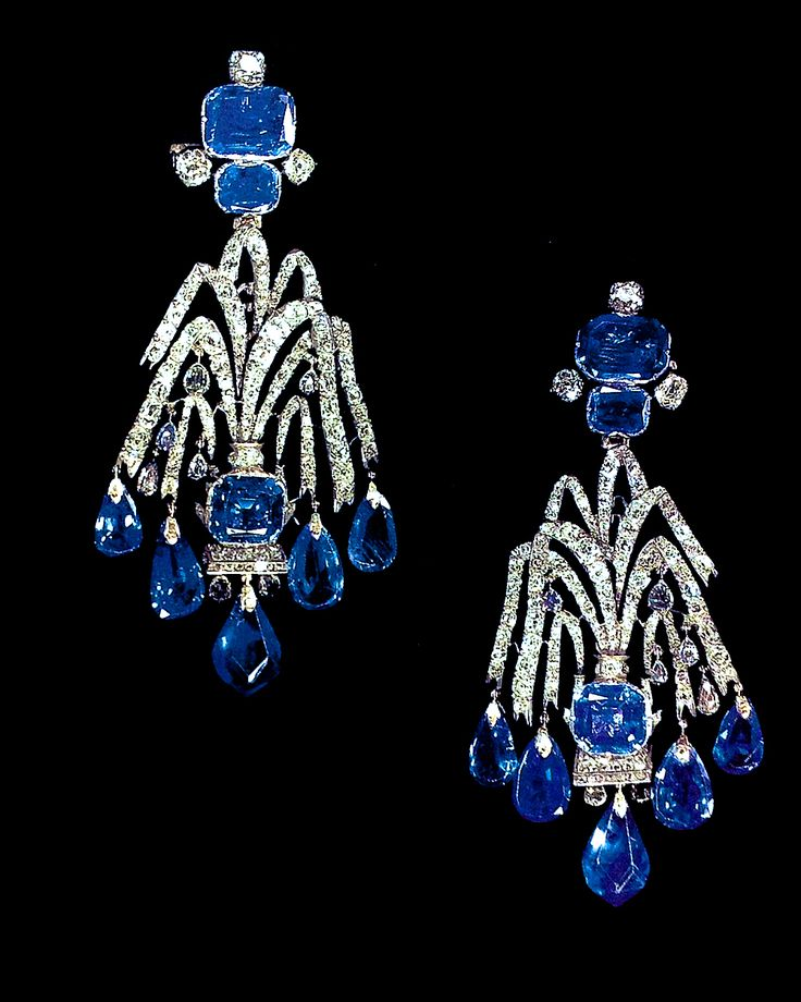 Sapphire Diamond Ear Pendants (comes with a matching aigrette) made for the Elizabeth of Russia, the daughter of Peter the Great & Katherine. The inspiration for the design was drawn from the fountains of the palace.  The symbolism of a fountain is rightful ascension.