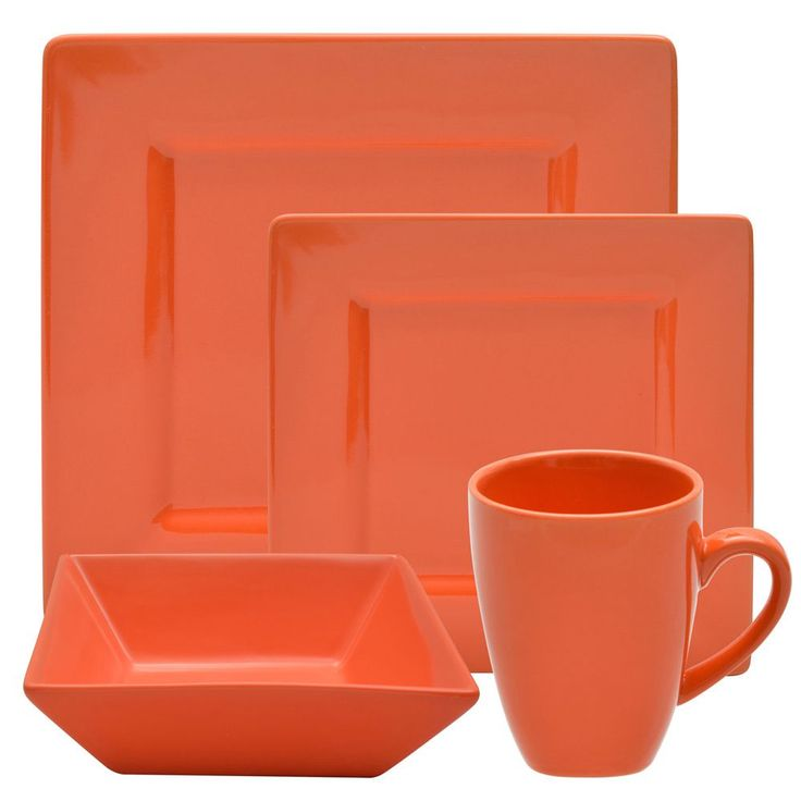 This 16-piece Orange Square Dinner Set will have you throwing a proper soiree in no time. Dishwasher and oven safe up to 500 degrees Fahrenheit, this set includes dinner plates, salad plates, soup bowls, and cups with service for four.