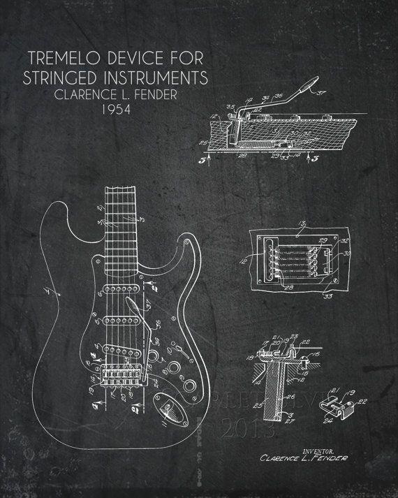 25 best guitars amplifier images on pinterest custom guitars fender tremolo blueprint art print multiple sizes available malvernweather Image collections