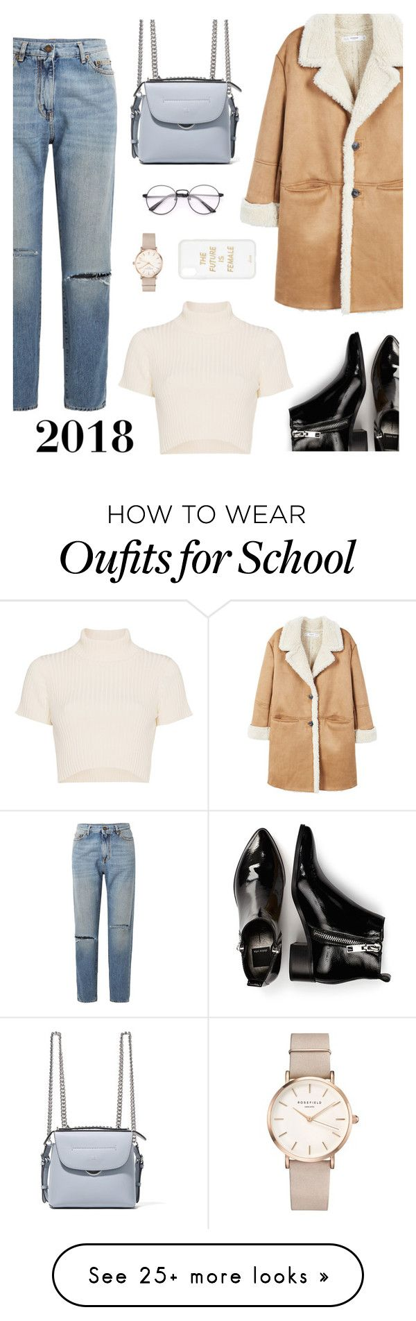 """""""Best Wishes for 2018, may all your dreams come true """" by fabulusvogue on Polyvore featuring MANGO, Yves Saint Laurent, Dolce Vita, Staud, Fendi, ROSEFIELD and Sonix"""
