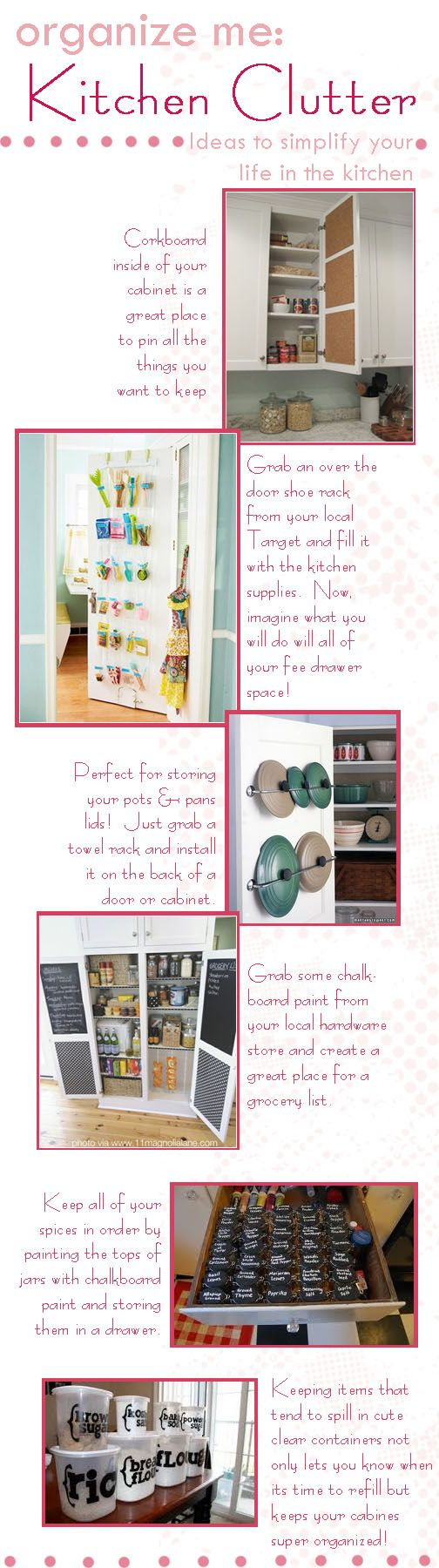 :) ~Awesome ideas! Whenever I get a place of my own I am definitely using the towl rack idea!: Doors Idea, The Doors, Organizing Ideas, Kitchen Organization, Kitchen Clutter, Organize Kitchen, De Clutter, Chalkboard, Kitchen Ideas