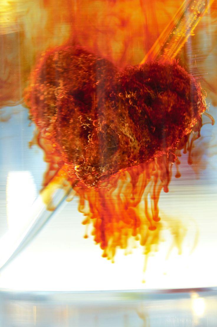 Efekt reakcji żelaza z drucika (zrobiono z niego serce) z solą rozpuszczoną w roztworze z rodanku potasu./ The effect of the reaction of iron wire ( the heart is made from it ) and salt dissolved in a solution of potassium thiocyanate .