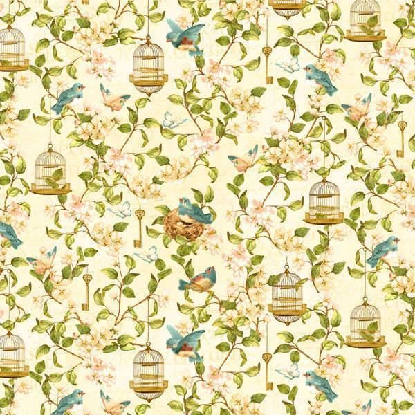 ** Secret Garden - Bird Cages and Keys in Ivory-Secret, Garden, Wilmington, Fabric