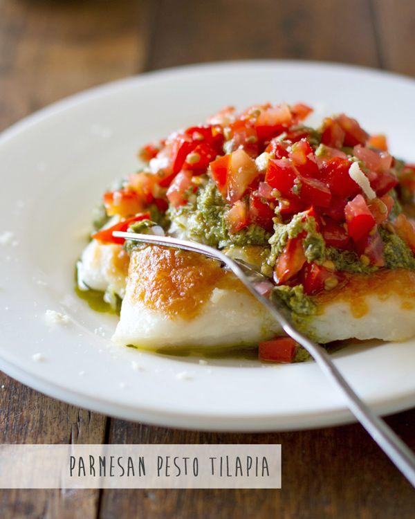 #glutenfree Parmesan Pesto Tilapia w/ Peppered Tomatoes & Lemon-Butter