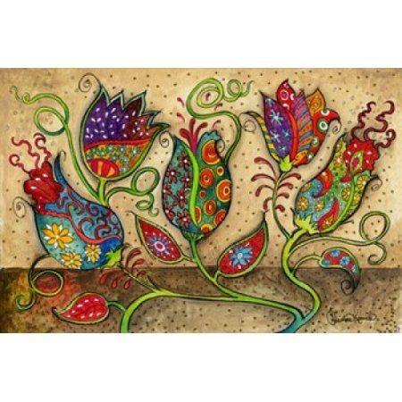 Mosaic Flowers-Beige Canvas Art - Christine Kerrick (25 x 16)