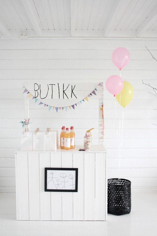 Sencillo... y precioso   fiesta sencilla rosa y amarillo tienda globos