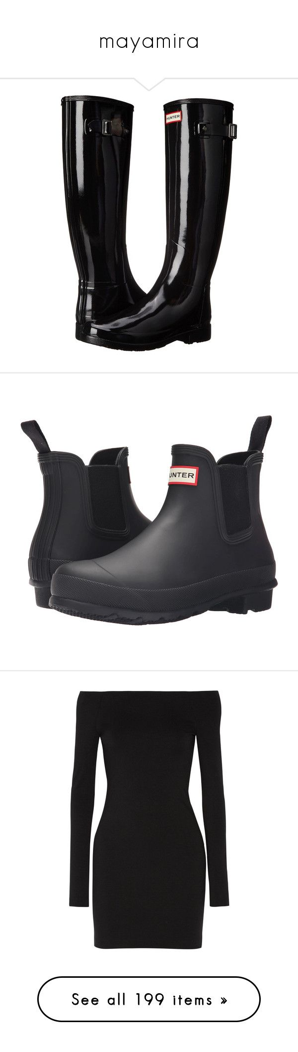 """""""mayamira"""" by hogwartsdragoness ❤ liked on Polyvore featuring shoes, boots, knee-high boots, black boots, knee high rain boots, black rain boots, rain boots, black knee boots, rubber rain boots and waterproof slip on boots"""