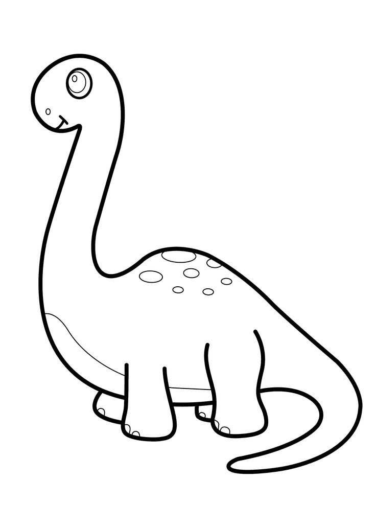 Little dinosaur brontosaurus cartoon coloring pages for kids ...