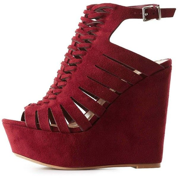 Charlotte Russe Platform Huarache Wedge Sandals ($25) ❤ liked on Polyvore featuring shoes, sandals, burgundy, woven sandals, wedges shoes, platform shoes, braided sandals and buckle sandals