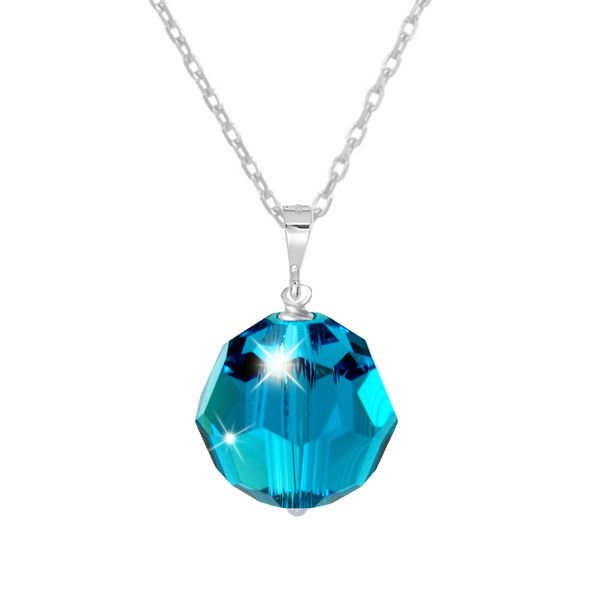Tia Crystal Pendant in November Blue - An elegant classic design. A single shimmering Swarovski crystal drop is suspended from a fine sterling silver chain. Finished with a sterling silver clasp and extension chain.  The 10mm crystal is a stunning shade of zircon blue (December Birthstone colour). It is facet cut to give it an amazing radiance and shine. A beautiful look for everyday wear or layer with other pendants for a more striking style.  A perfect gift for children, teens & adults.