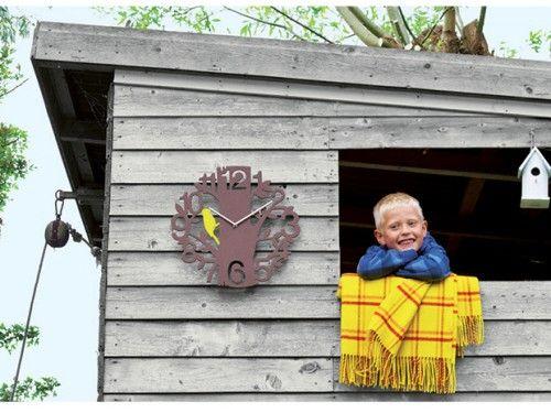 Reloj woodpecker plastic brown #Karlsson #relojes de pared #fashion clocks #deco #wall clocks #watches #wood Present Time