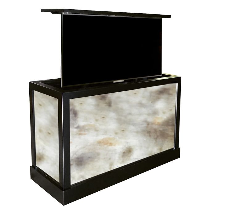 antique mirrored tv lift cabinet furniture custom made with a a beautiful black satin finish this tv lift kit system actually has 2 tvu0027s come up on both