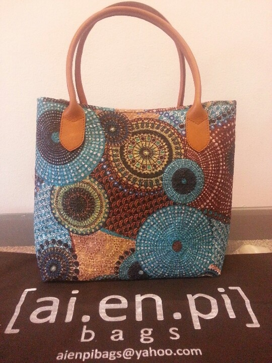 Blue brown embroiderry handbag