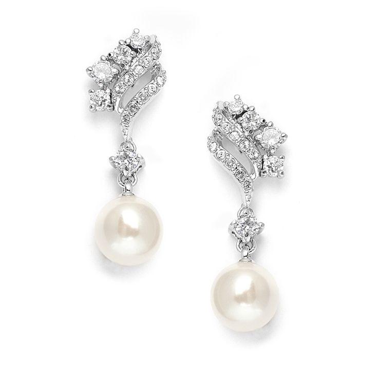 CZ And Soft Cream Pearl Bridal Earrings