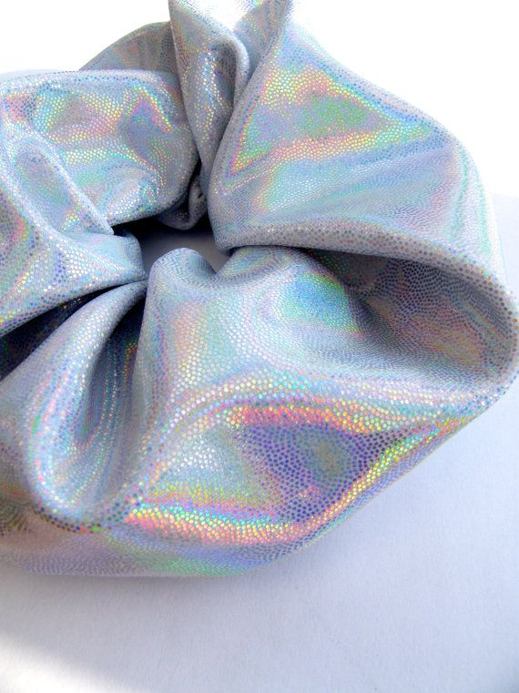 Holographic Iridescent Scrunchie, Sparkly Hair Band, Space Fashion, 90's Style