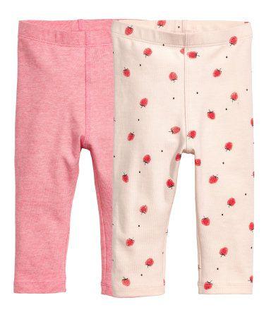 2-pack leggings | Rosa/Randig | Barn | H&M FI