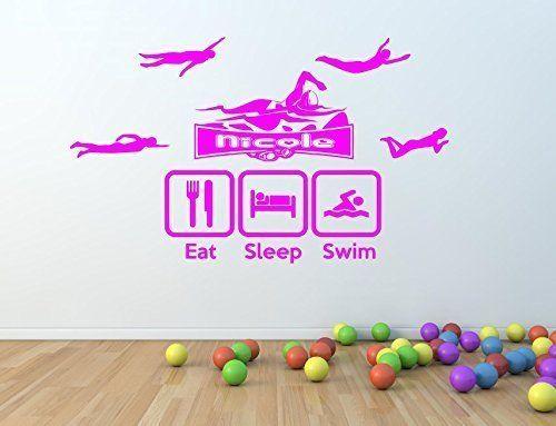 Personalised Girls Swimmer / Swimming Vinyl Wall Art Sticker - 16 colours - kids87 (X Large 100 x 60 cm)
