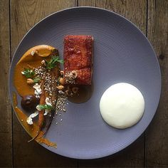 Roast suckling pig, BBQ carrot, hazelnut dukkah, beer & apple…
