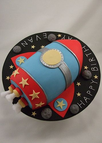 Rocket Ship Cake - got the stars                                                                                                                                                     More