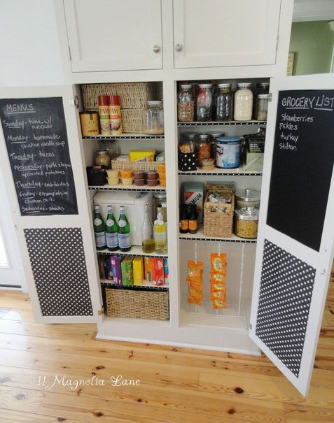pantry ideas - chalkboard paint & pretty paper! (maybe magnet or corkboard also?)The Doors, Pantry Doors, Chalkboards Painting, Chalkboard Paint, Chalk Boards, Kitchens Cabinets, Grocery Lists, Cabinets Doors, Pantries Doors